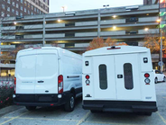 Knapheide's KUV service body (right) is one of the more popular choices for Transit fleet users....