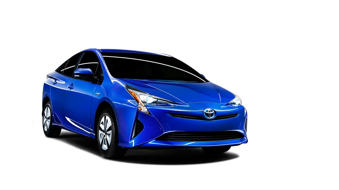 The front headlights of the 2016 Prius suggest a design influence from Toyota's Mirai fuel cell...