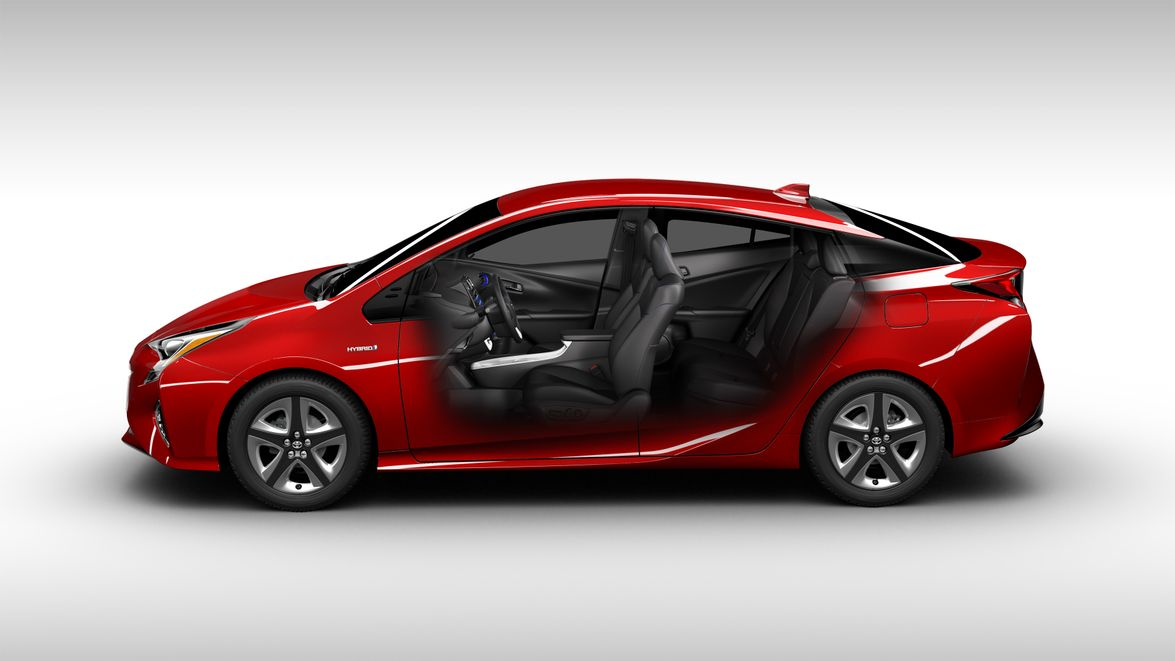 "For the 2016 Prius, Toyota has lowered the hood and rear spoiler, and incorporated a ""floating..."