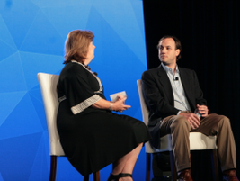 Mary Brigden (left), VP of enterprise sales for Verizon Telematics, moderated a fireside chat...