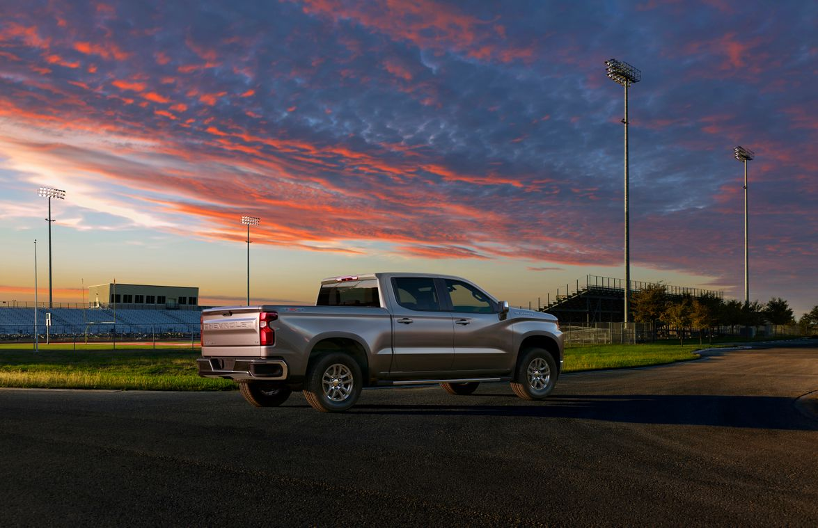 The Silverado LT adds chrome accents on bumpers, front grille, and mirror caps.