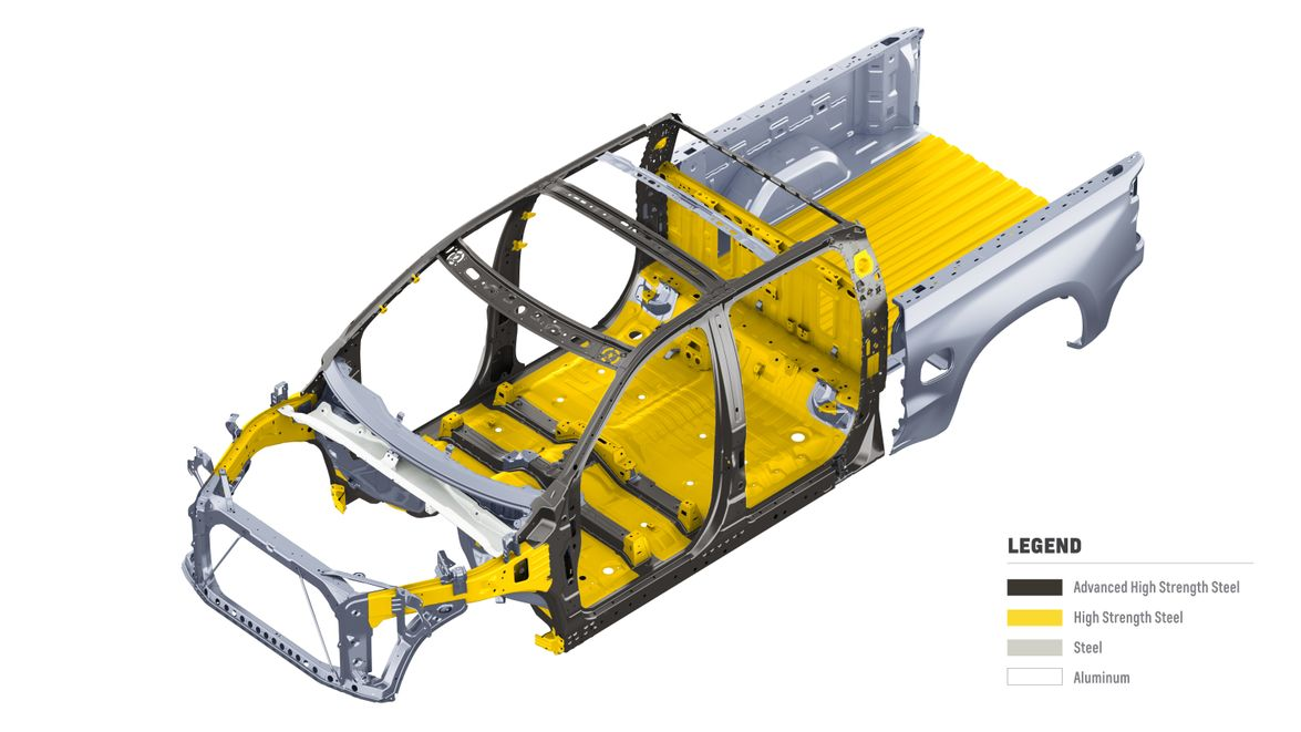 The underlying safety cage features significant use of advanced high strength steels.