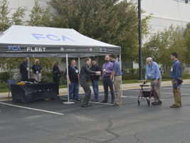 Attendees line up for a turn with one of FCA's several vehicles.