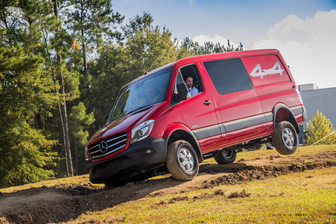 The new Sprinter 4x4 is tested on a dirt track at the Mercedes-Benz van reassembly plant in...