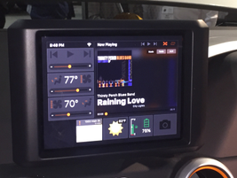 One screen embedded in the dashboard provides operating data and a small navigation map.