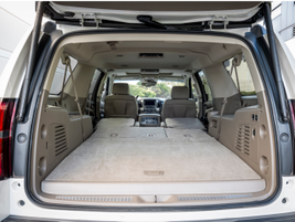 With the seats down, you have a maximum cargo capacity of 121.1 cubic feet.