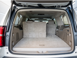 When the third-row seat is in the upright position, the Suburban can carry seven passengers.