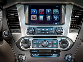 The infotainment system also includes two drop-down in-vehicle video screens for passengers in...