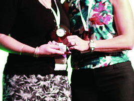 Theresa Belding (right), outgoing AFLA president, presented a President's Recognition Award to...