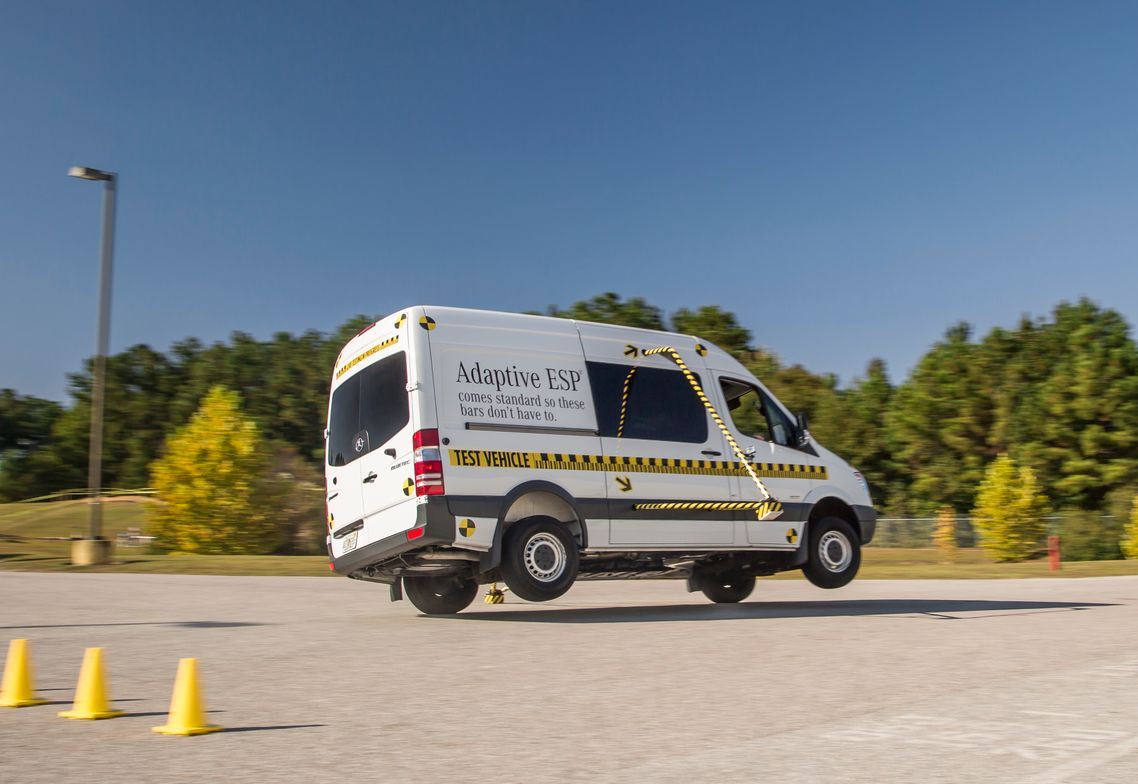 The Sprinter used to test the Adaptive ESP feature makes sharp turns at speeds up to 40 mph.