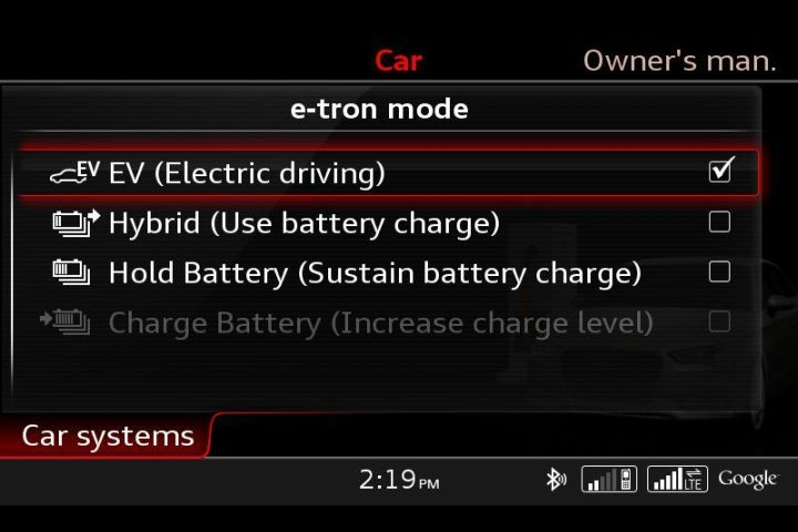 The A3 Sportback e-tron operates in four driving modes.