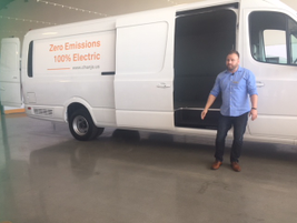 Austin Hausmann, vice president of R&D and product, shows the van's cargo area.