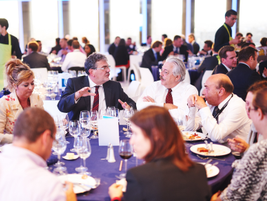 During the lunch break, attendees engaged in lively debate.