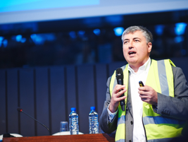 Andrzej Sacha of Nestle donned a yellow safety vest to make a point during his presentation...