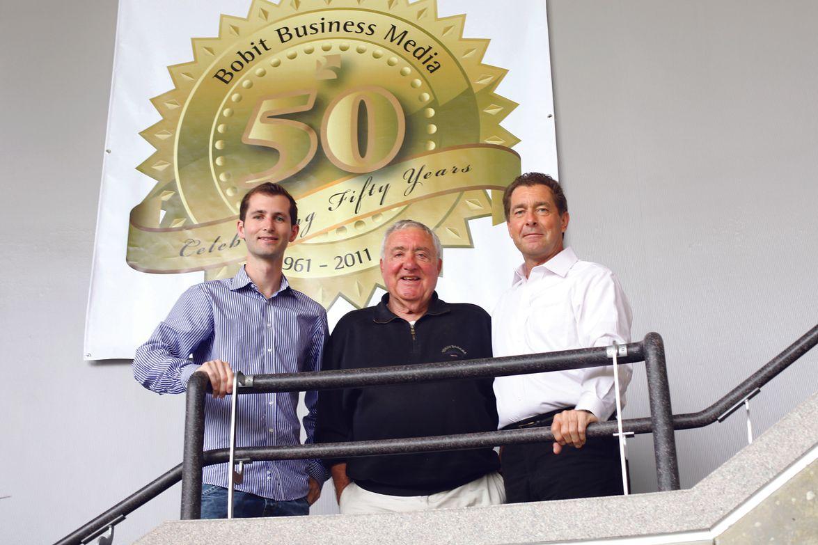 Ed, Ty, and Blake Bobit celebrating Bobit Business Media's 50th anniversary in 2011.