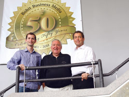 Ed, Ty, and Blake Bobit celebrating Bobit Business Media's 50th anniversary in 2011.