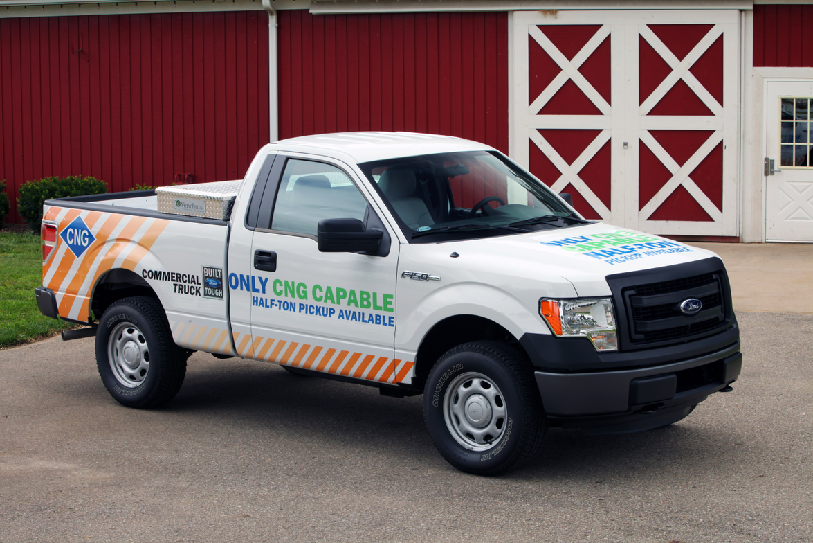 When the 3.7L V-6 F-150 is equipped with a CNG/LPG engine package, it is capable of achieving...