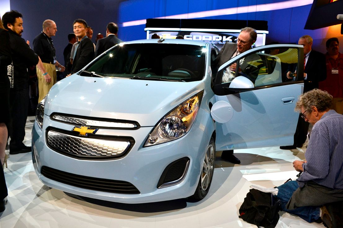 GM held a press conference to debuts its new Chevrolet Spark EV.