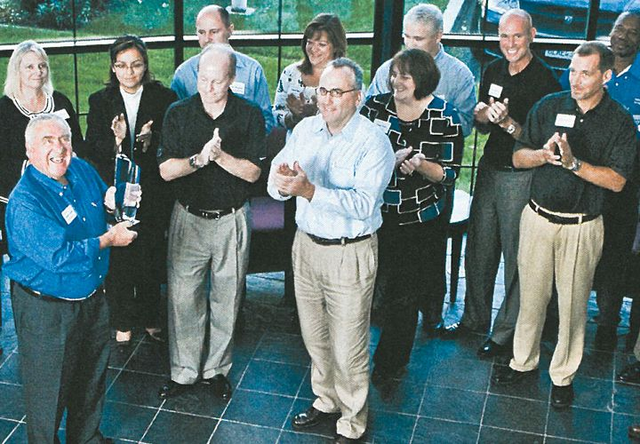 Chrysler fleet board meeting at Bobit Business Media headquarters with Pat Dougherty (left in...