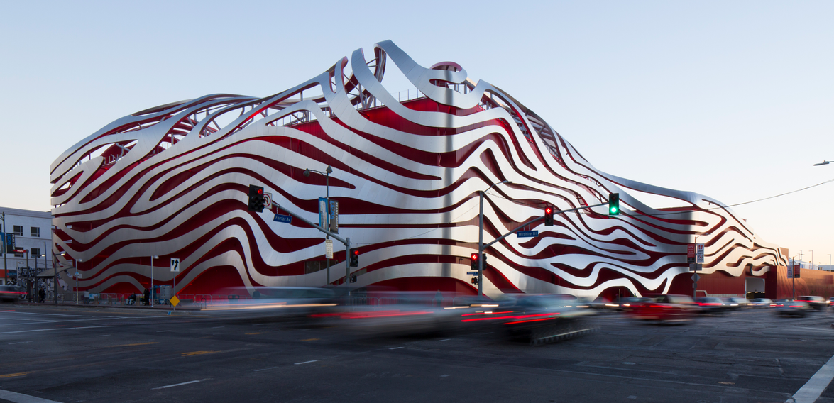 The Petersen Automotive Museum's exterior was inspired by iconic motion-blur photos of traffic...