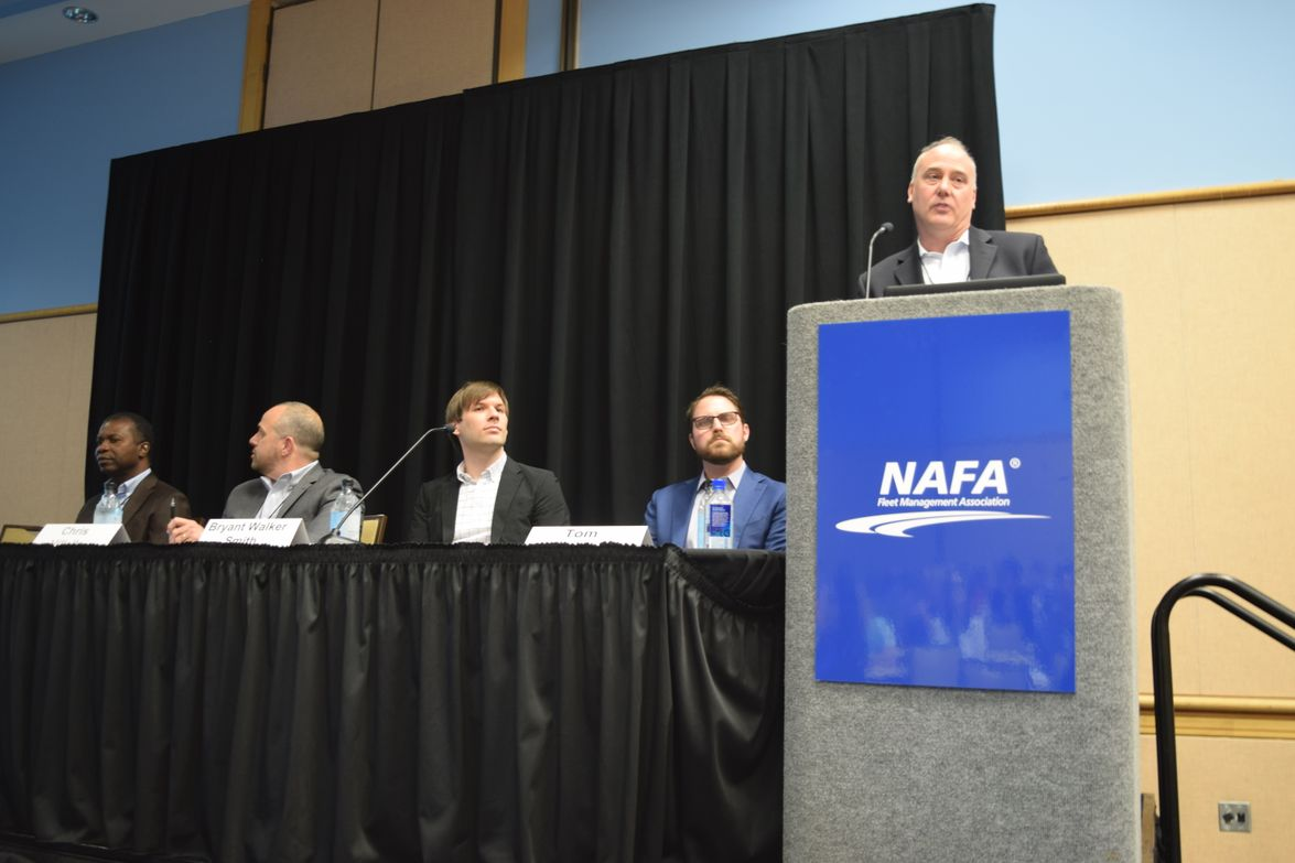 Dennis Straight (far right), CTO, Donlen, speaks during a panel on the future of autonomous...