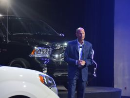 Frank Dankovich, director of fleet sales, addresses attendees with the 2017 Ram 1500 pickup...