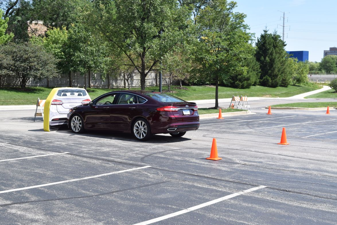 Ford showed off its automatic braking technology with the Ford Fusion during the vehicle safety...
