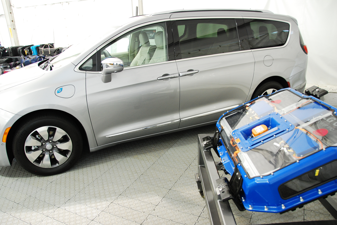 In addition to the Chrysler Pacifica gasoline model, a hybrid model was also on display, but not...