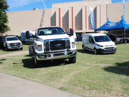 Ford also had its commercial lineup on display from its Transit Connect all the way up to its...