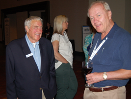 BBM Founder and Publisher Ed Bobit (left) spends time with Cliff Samuelsen of ARI during a...