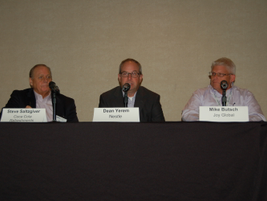 (L-R) Steve Saltzgiver of Coca-Cola Refreshments, Dean Yerem of Nestle, and Mike Butsch of Joy...