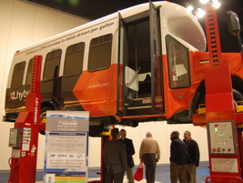 Walking into the expo hall attendees saw a shuttle bus equipped with XL Hybrids' technology.