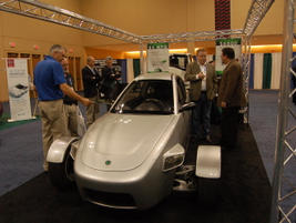 Elio showed off its three-wheel fuel-efficient car. The two-seater gets 84 miles to the gallon.
