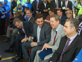 Ford senior executives, including (l-r) CEO Mark Fields, Executive Chairman Bill Ford, and Plant...