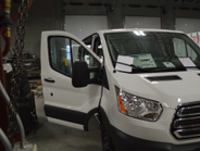 This Ford Transit is being upfit for Tennant, a carpet cleaning company.