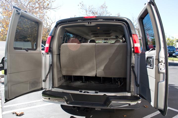 The van has evenly-split rear doors.