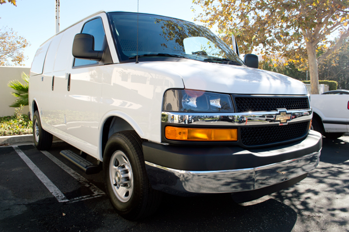This Chevrolet Express 2500 has the standard 135-inch wheelbase.