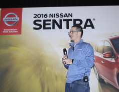 Tony Baehner, senior manager of product planning for Nissan, presents featuresof the redesigned...
