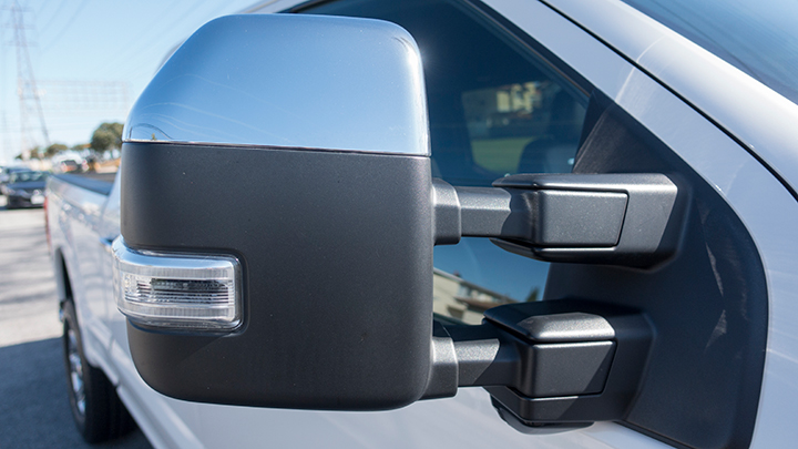 Power-folding side-view mirrors include power and heated glass with integrated turn signal.