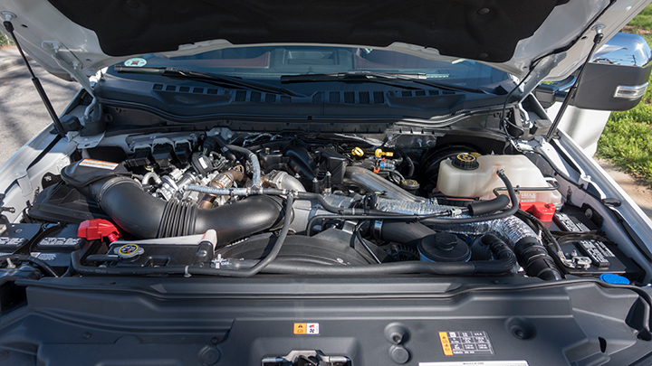 The truck is powered by a 6.7L Power Stroke V-8 diesel. Ford also offers a 6.2L V-8 gasoline...