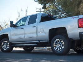 The truck rides on multi-leaf rear spring suspension.
