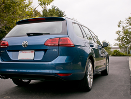"""The lift-gate opens by pressing and pulling the """"VW"""" logo."""
