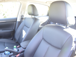 The SR's interior features charcoal sport cloth seats accented with blue stitching.