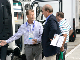 Frank Ziegler, director of sales with Greenkraft, shows his Class 4-5 LPG cabover.