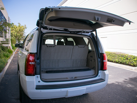The Tahoe offers 15.3 cubic feet of cargo volume and 94.7 cubic feet with seats folded down.