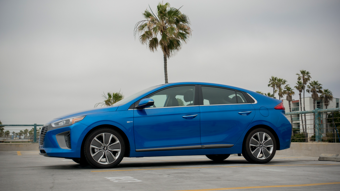 The Ioniq Hybrid measures 176 inches in length and would be considered a mid-size sedan.