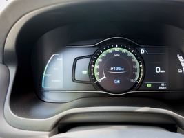The instrument panel shows state of charge, operational modes (similar to the Ioniq Hybrid), and