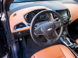 Steering wheel controls allow the driver to set cruise control and access vehicle information.