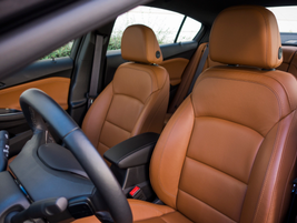 Front leather seats are heated and adjustable in eight ways.