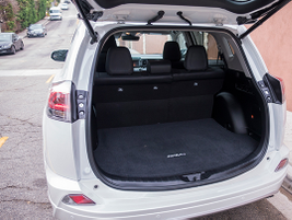 The RAV4 offers 38.4 cu-ft. of trunk space, and 73.4 cu-ft. with the seats down.